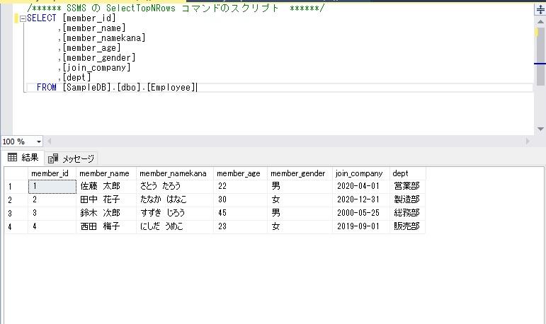 select文に値をセットした問い合わせ結果をそのままINSERT実行前のエビデンス