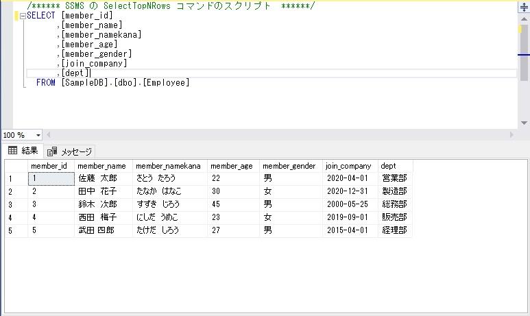 select文に値をセットした問い合わせ結果をそのままINSERT実行後のエビデンス